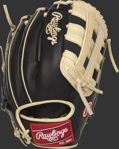 PROR207-6BC Rawlings H web outifield glove with a black back and camel welting