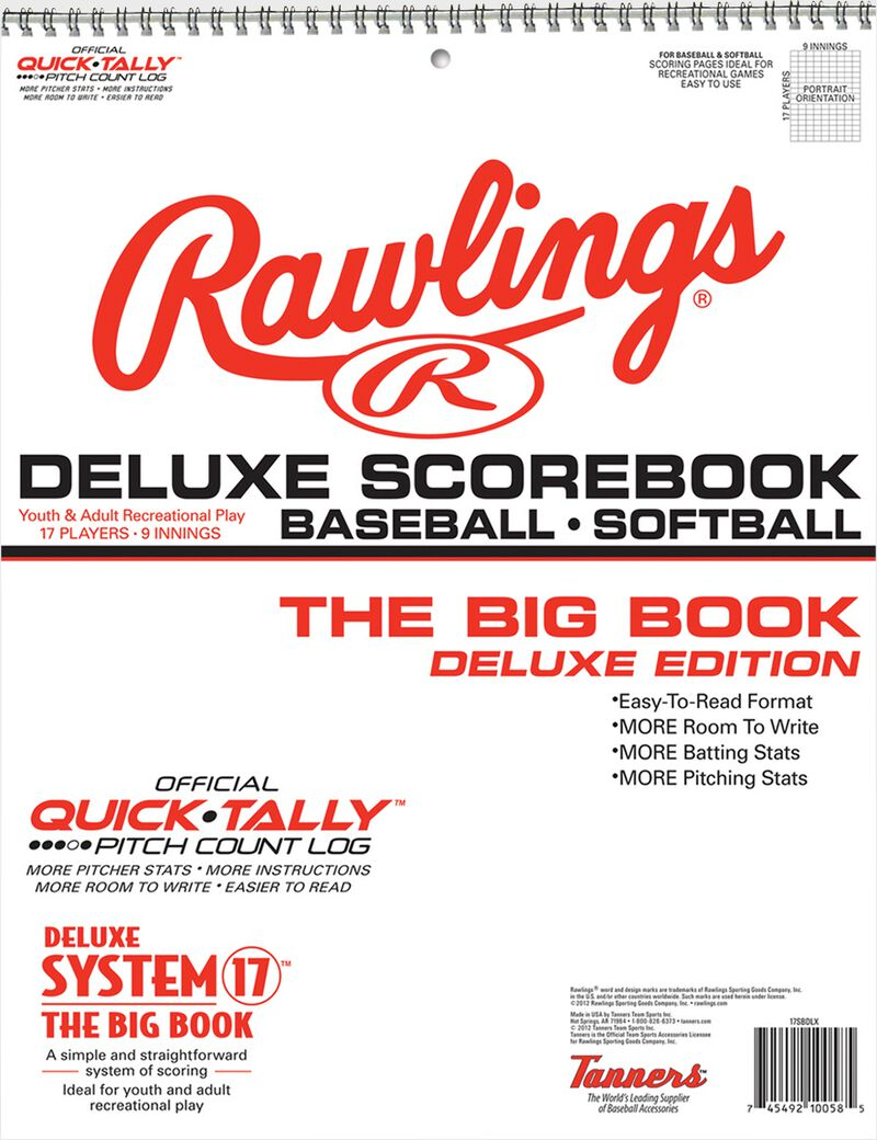Rawlings White System-17 Deluxe Scorebook For Baseball and Softball SKU #17SBDLX