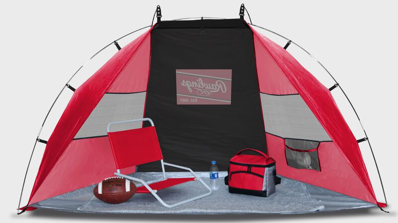 A red/black Rawlings sun shelter with a chair and cooler inside - SKU: 00974043511