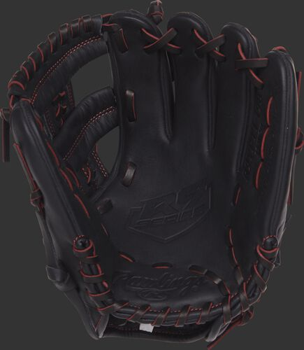 R9YPT1-19B 11-inch Rawlings youth infield glove with a black palm and black/scarlet laces