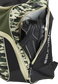 A cleat in the side cleat pocket of a camo Legion baseball backpack - SKU: LEGION-CAMO image number null