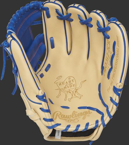 PRO312-2CR 11.25-inch Rawlings infield glove with a camel palm and royal blue laces