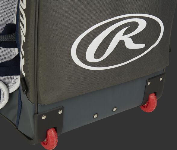 Red wheels of the R1801 Rawlings equipment backpack for catcher's gear