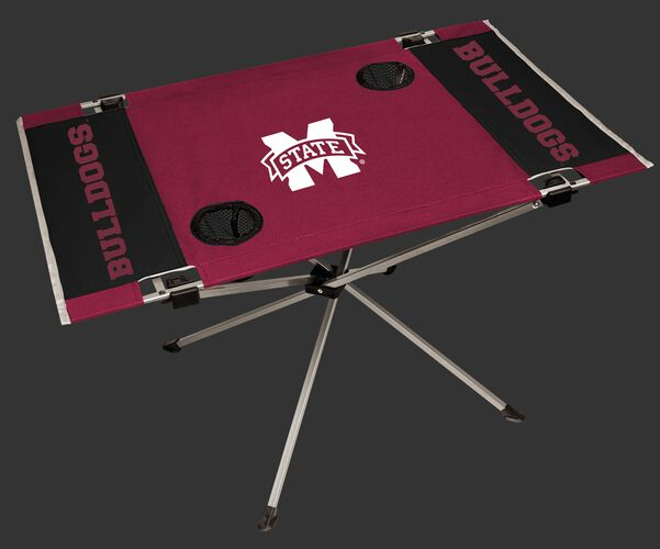 NCAA Mississippi State Bulldogs Endzone tailgate table with a team logo in the middle and two cup holders SKU #04053039111
