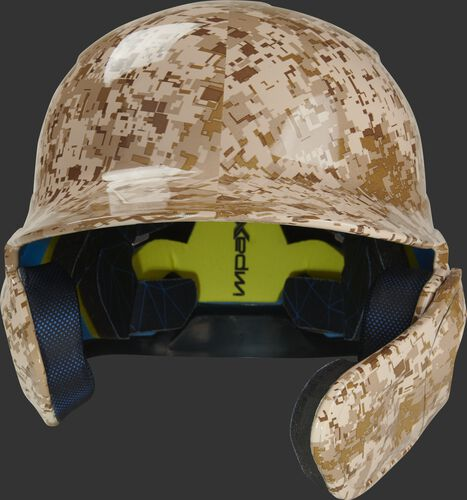 Front of a MACHEXTR-DCMO Rawlings Mach EXT batting helmet with a desert camo hyro dipped design
