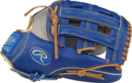 Thumb view of a PRO3039-6GRC Heart of the Hide ColorSync outfield glove with a royal blue H web