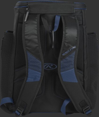 Back of a navy/black R600 Rawlings Players backpack with black shoulder straps