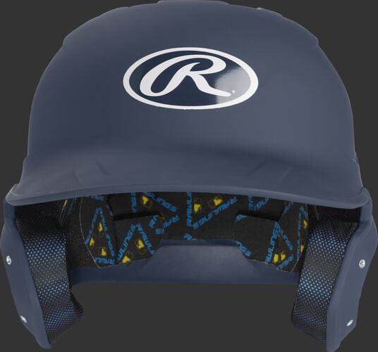 MCH07A Mach batting helmet with a matte navy shell and Oval R logo on the front