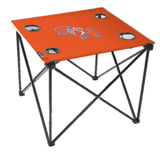 Rawlings Orange NCAA Sam Houston State Bearkats Deluxe Tailgate Table With Four Cup Holders and Team Logo Printed In The Middle SKU #00710279111