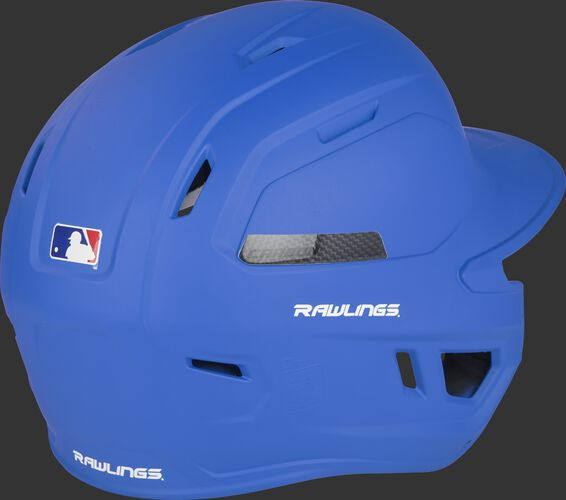 Back right of a CAR07A Rawlings adult baseball helmet with a matte royal shell and air vents in the back