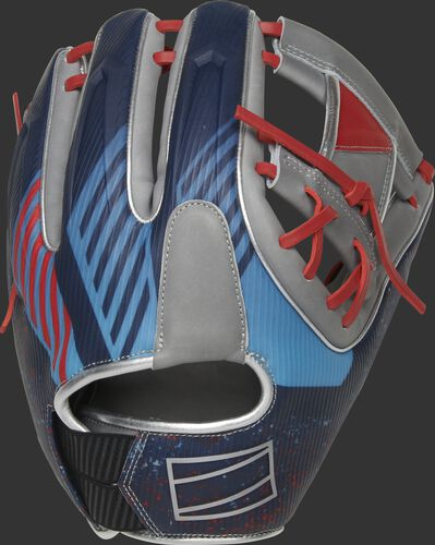 3D molded back of a REV1X I-web infield glove with a unique sublimated design - SKU: REV204-2X