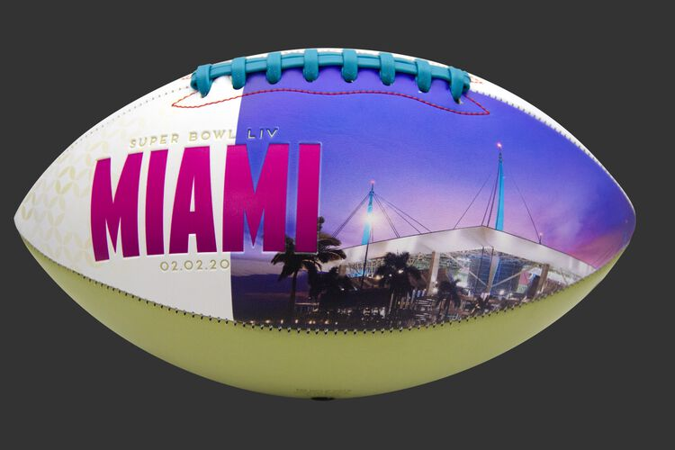 Hard Rock Stadium image printed on a Super Bowl 54 Champions football