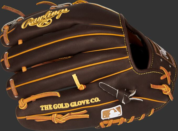 Brown back of a San Diego Padres Heart of the Hide infield glove with the MLB logo on the pinky - SKU: RSGPRONP4-7SD