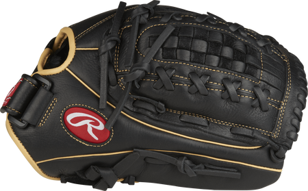 Thumb view of a black RSO130BCC Shut Out 13-inch outfield glove with a black Basket web