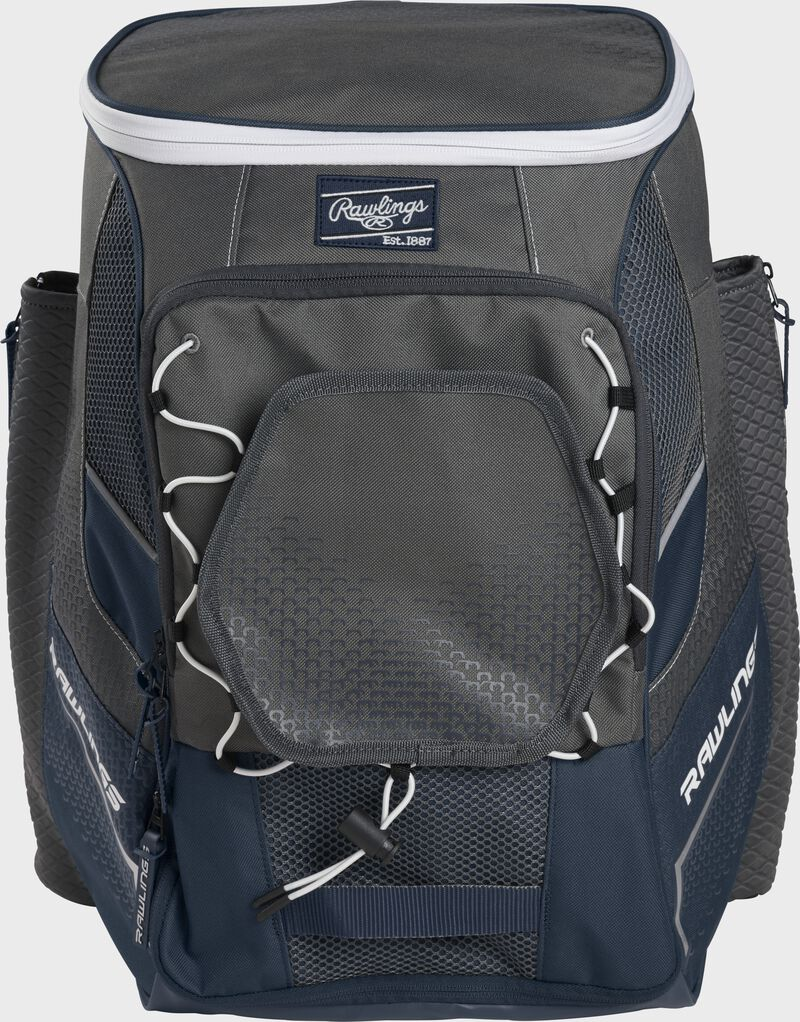 Front of a navy Impulse baseball backpack with a gray front pocket - SKU: IMPLSE-N