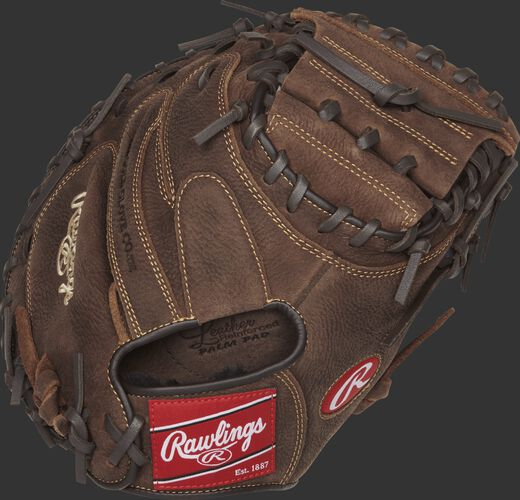 Back view of a brown PCM30 33-inch Player Preferred recreational catcher's mitt with a brown back