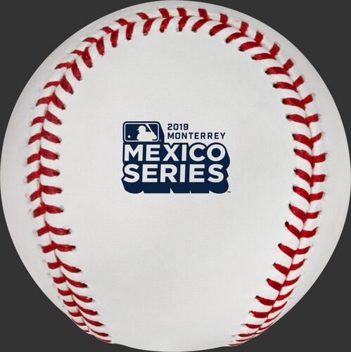 The official MLB Mexico Series 2019 logo stamped on the ROMLBMS19 baseball