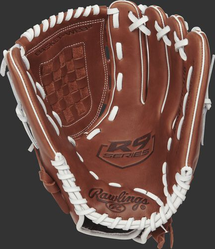R9SB120-3DB Rawlings 12-inch softball glove with a brown palm and white laces