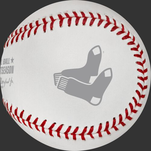 The Boston Red Sox logo stamped on the ALCS18DL 2018 ALCS champs baseball