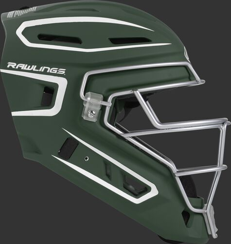 Right side of a dark green CHV27J Velo 2.0 youth size catcher's helmet