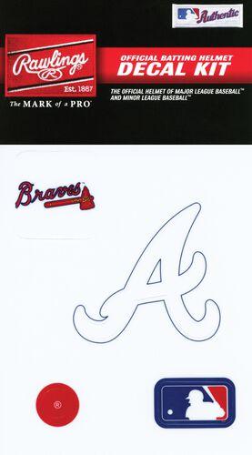 Rawlings MLB Atlanta Braves Decal Kit With Braves Logo, MLB Logo, and White Atlanta A SKU #MLBDC-ATL