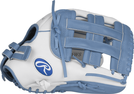 Thumb view of a white RLA130-6WCB Liberty Advanced color series 13-inch fastpitch glove with a columbia blue H web