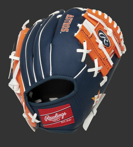 Back of a navy/orange Houston Astros 10-Inch I-web glove with a red Rawlings patch - SKU: 22000002111