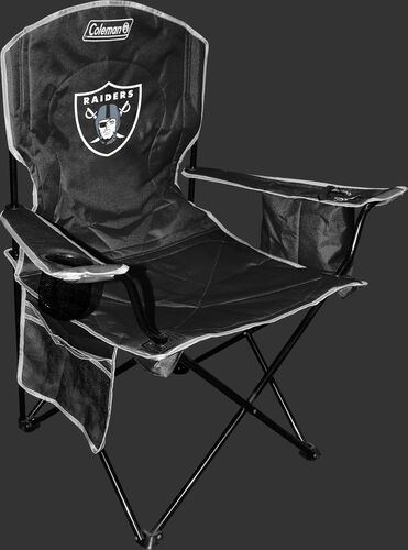 Front of Rawlings Black NFL Oakland Raiders Chair With Team Logo SKU #02771072111