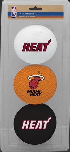 Rawlings White, Brown, and Black NBA Miami Heat Three-Point Softee Basketball Set With Team Logo SKU #03524205114