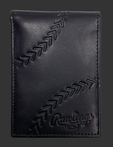 A black debossed stitch front pocket wallet with a baseball stitch design and Rawlings logo in the bottom right - SKU: PRW009-001
