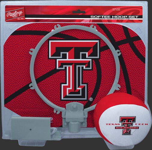 A red/grey NCAA Texas Tech Red Raiders hoop set with a red/white ball and team logo printed on the backboard