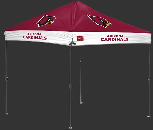 A red/white NFL Arizona Cardinals 10x10 canopy with team logos on each side - SKU: 02231081111