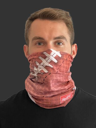 A guy wearing a football design adult neck gaiter over his mouth and nose - SKU: RC40006-200
