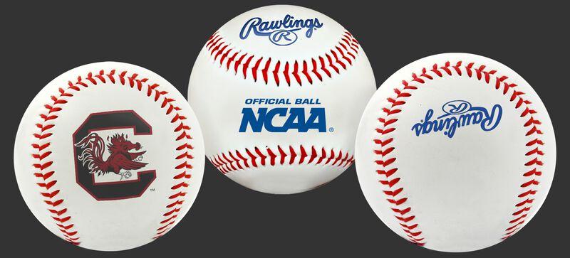 3 views of a NCAA South Carolina Gamecocks baseball with a team logo, NCAA logo and Rawlings logo