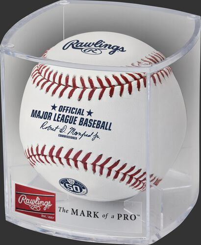 A Milwaukee Brewers 50th anniversary ball in a clear display cube - SKU: ROMLBMB50