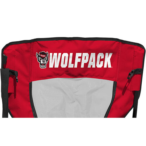 Back of Rawlings Red and Black NCAA North Carolina State Wolfpack High Back Chair With Team Name SKU #09403041518