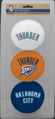 Rawlings White, Brown, and Navy NBA Oklahoma City Thunder Three-Point Softee Basketball Set With Team Logo SKU #03525053114