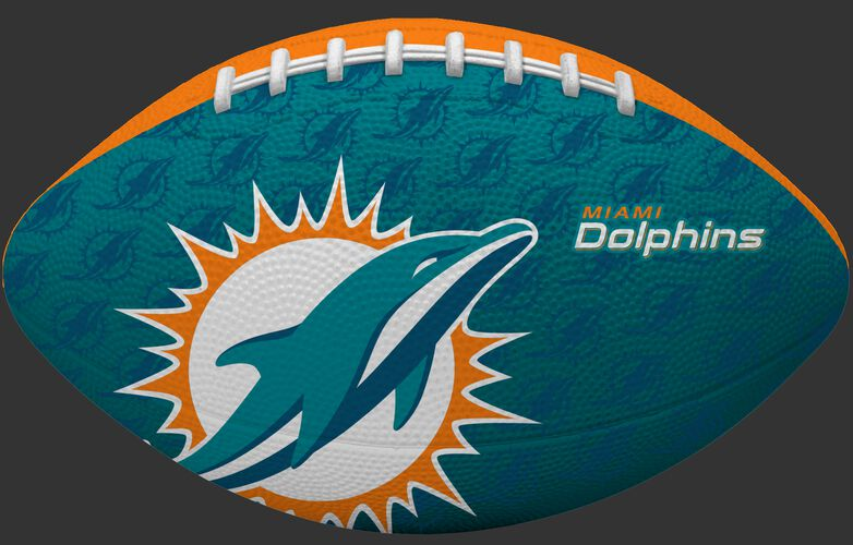 Teal blue side of a NFL Miami Dolphins Gridiron football with the team logo SKU #09501074121