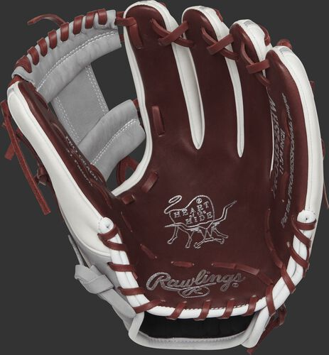 PRO315-2SHW Rawlings 11.75-inch infield glove with a sherry colored palm and maroon laces