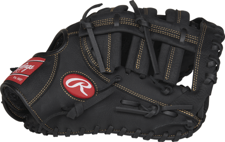 Palm view of a black RFBMB Renegade 12.5-inch first base mitt with a black Single Post Double Bar web