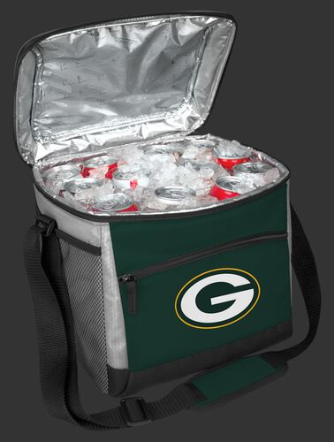 An open Green Bay Packers 24 can cooler filled with ice and drinks - SKU: 10211068111