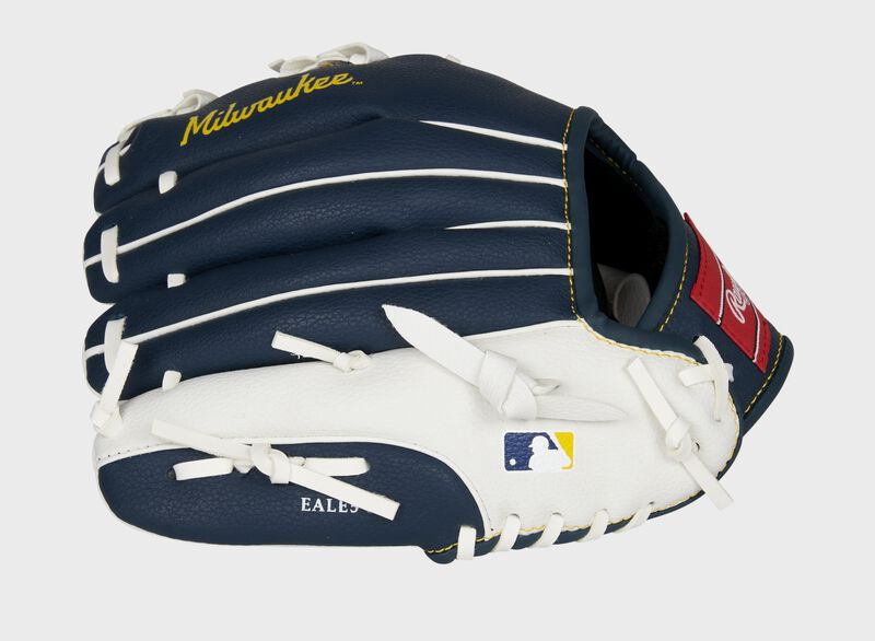 Back of a navy/white Rawlings Milwaukee Brewers youth glove with the MLB logo on the pinky - SKU: 22000006111
