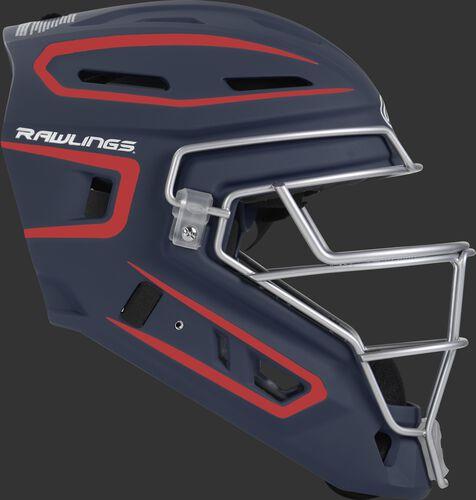 Right side of a navy/scarlet CHV27J Velo 2.0 youth size catcher's helmet