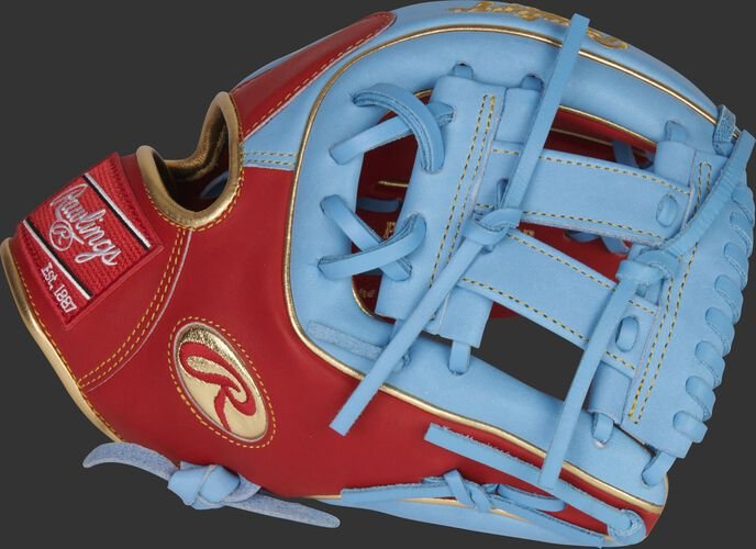 Thumb of a scarlet/columbia blue Gameday 57 Series Kolten Wong Heart of the Hide glove with a columbia blue V-web - SKU: RSGPRO314-7SCB