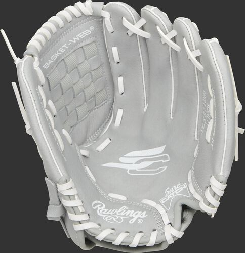SCSB110M Rawlings Sure Catch youth fastpitch glove with a grey palm and white laces