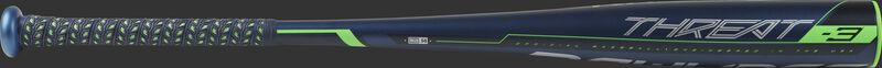 Barrel view of a BB9T3 2019 BBCOR Threat one-piece alloy baseball bat with a navy barrel and grey/green accents
