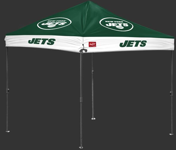 A green/white NFL New York Jets 10x10 canopy with team logos on each side - SKU: 02231079111