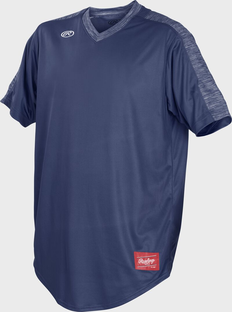Front of Rawlings Navy Adult Short Sleeve Launch Jersey  - SKU #LNCHJ-N