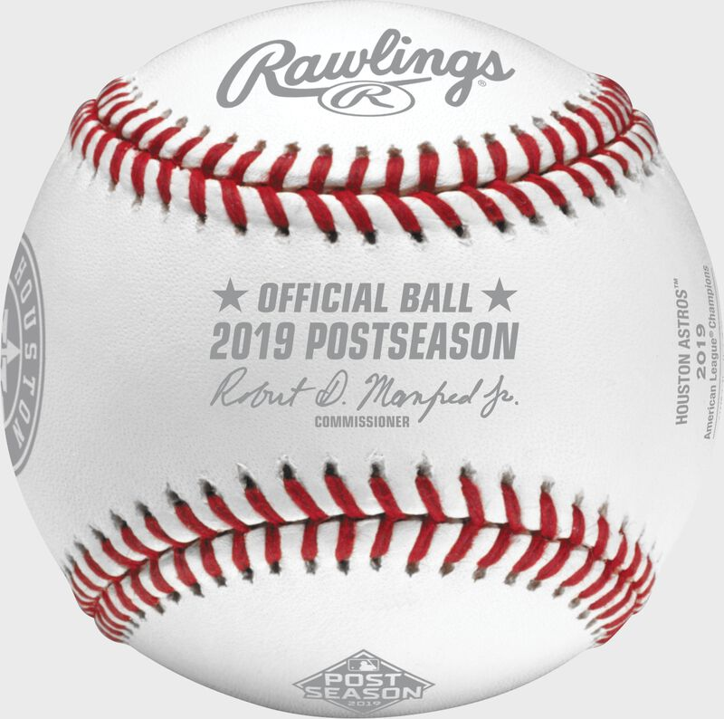 Official ball of MLB stamp on a ALCS19CHMP Houston Astros American League Champions baseball