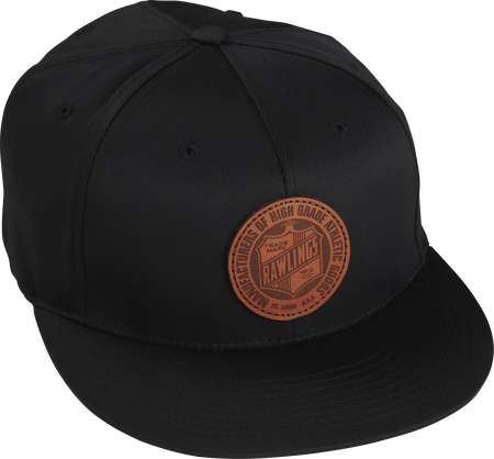 RWLPH Rawlings black fitted hat with a leather oval crest logo